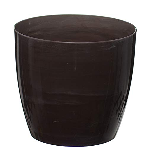 Home Garden Ornaments Flower Pots, Imitation Marble,6 Colours,3 sizes, Gloss Plastic Plant Pots Planter (18 cm, Bronze Marble)