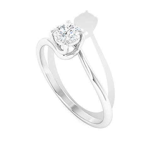 Anillo de vástago espiral delicado, anillo de compromiso único, anillo de solitario de diamante HI-SI 1/4 CT, anillo de boda para mujeres, anillo para fiestas de novia, 14K Oro blanco, Size:EU 53