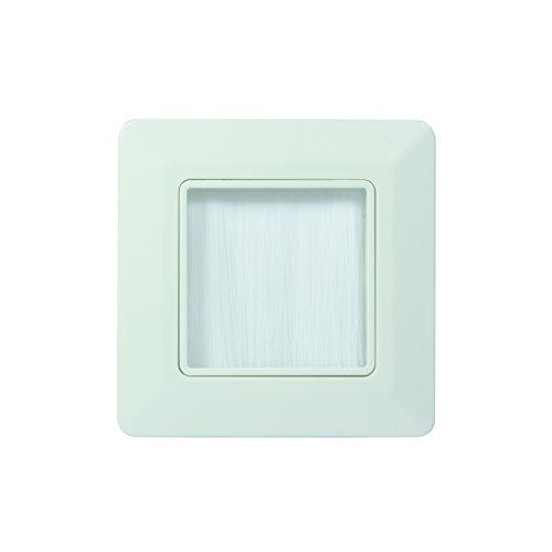 LogiLink Professional CA1071W Wandabdeckung für Kabelausgang oder Eingang, 80x80 mm mit Schutzbürste, 5 V, Weiß, 80x80