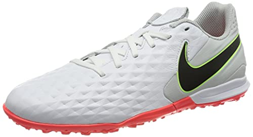 Nike Legend 8 Academy TF, Football Shoe Unisex Adulto, White/Black-Grey Fog-Bright Crimson-Ghost Green, 45 EU