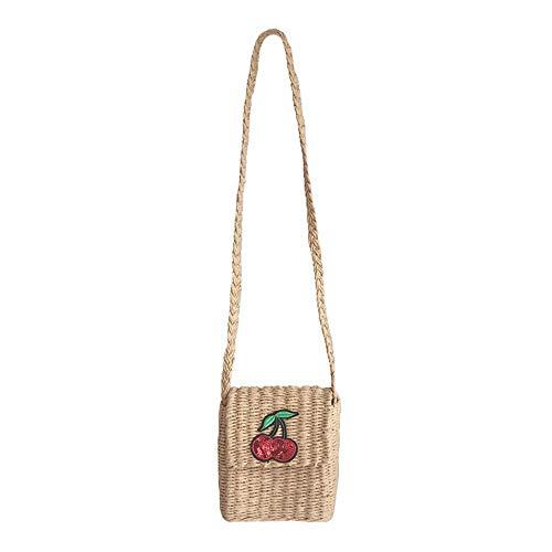 Thumby dames handtassen schoudertassen kersenstro tassen omhangtassen boodschappentas kleine vierkante zakken geweven tassen vrouwelijk kust vrije tijd vakantie strandtassen kleine tassen 10,5
