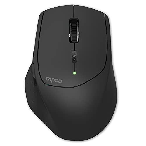 Rapoo MT550 kabellose Maus, Bluetooth und Wireless (2.4 GHz), mehrere Geräte verbinden, 1600 DPI Sensor, schwarz
