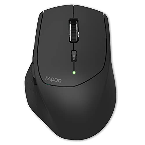 RAPOO Multi-Device Bluetooth Mouse, Connect Up to 4 Different Devices, 4 Adjustable DPI, Ergonomic Design Comfortable Use, 12 Month Long Battery Life, for Computer Laptop Macbook Tablets Phones, Black