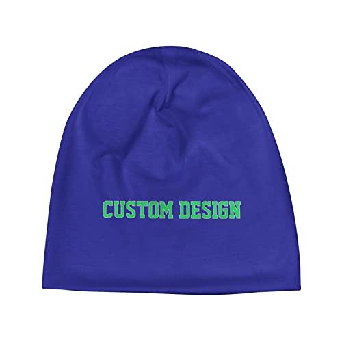 Custom Design Beanie Hat for Men Women Adult Knit Skull Cap Warm Stocking Hats Guys Winter Beanie Plain Hat Blue