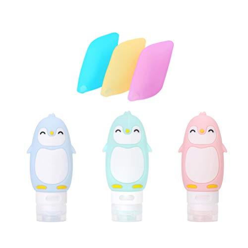 Lurrose 6 stuks pinguïn reis siliconen shampoo flessen tandenborstel afdekkingen onderverpakking fles reisaccessoires voor meisjes reizen blauw groen roze