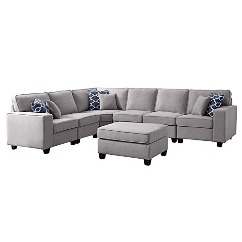 BOWERY HILL Fabric Upholstered 7-PC Sectional Sofa and Ottoman in Light Gray