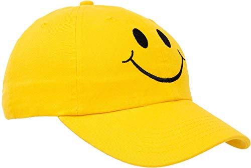 Ann Arbor T-shirt Co. Smiling Face Hat | Cute Happy Mom Dad Teacher Yellow Baseball Cap for Men Women