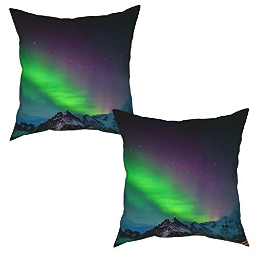Pack de 2 fundas de almohada,Aurora boreal en el sur de Islandia en el cielo sobre las colinas rocosas,Funda de Cojín Cuadrado de Protectora de Almohada para Sofá Cama Decoración del Hogar (50x50cm)x2