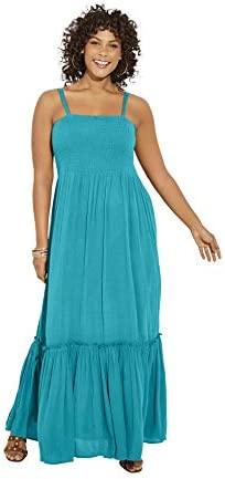 Roamans Women s Plus Size Two in One Maxi Dress in Crinkle Removable Straps 18 20 Deep Turquoise product image