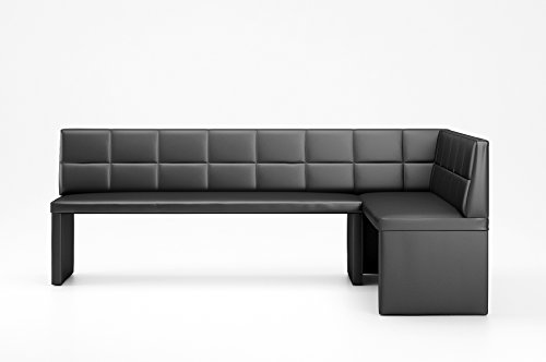 Hoekbank Marta zwart keukenbank zithoek dik bekleed kunstleer onderhoudsvriendelijk stabiel houten frame 168x128 cm rechts 168 x128 cm rechts zwart
