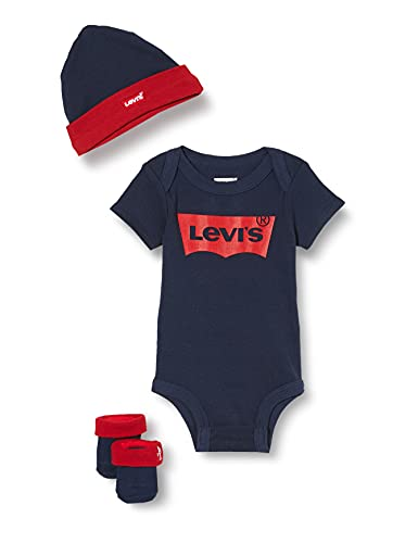 Levi's Kids Classic Batwing Infant Hat, Bodysuit, Bootie Set 3PC 0019 Baby and Toddler Layette, Dress Blues, 0-6 Mois Bébé garçon