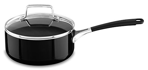KitchenAid Aluminum Nonstick 2.0 quart Saucepan with Lid - Onyx Black, Medium