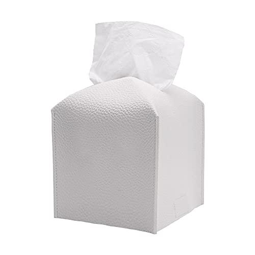 Tissue Box Cover Leather, Modern White Tissue Box Cover with Bottom Belt, Tissue Box Holder Square Decorative Organizer for Bathroom, Car, Office, Home,5'X5'X5'(White)