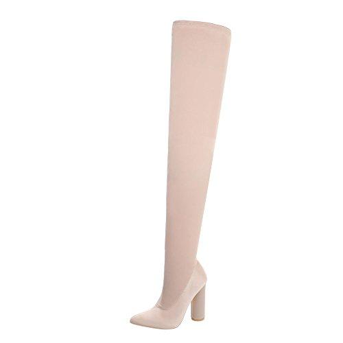 Ital-Design Overknees Damen-Schuhe Overknees Pump High Heels Reißverschluss Stiefel Beige Rosa, Gr 39, Jr-004-