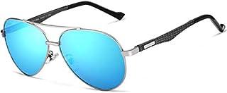 نظارات شمسية افياتور كلاسيكية من ألياف الكربون الممتازة، مستقطبة، حماية من الأشعة فوق البنفسجية بنسبة 100%، لون أزرق