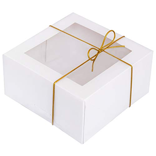 BILLIE BEAN White Bakery Boxes with Window - 6x6x3 Inch - 20 Pack + 20 Gold Elastic Ties - Pre Assembled Auto Pop Up Treat Boxes with Window - Pastry Boxes for Baked Goods - Dessert Boxes - Cookie Boxes with Window - Strawberry Boxes - Mini Cake Boxes
