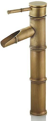 Solepearl Vintage Bambus Einlochbecken Waschtischarmaturen Full Copper heiß und kalt Wasserhahn Küche Badezimmer Hotel Waschbecken Wasserhahn, 3 Joints Break Mouth