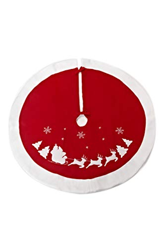 HEITMANN DECO runde Filz-Baumdecke 90cm Durchmesser - Schutz vor Tannennadeln - Tannenbaum-Unterlage mit Weihnachtsmotiv - Weihnachtsbaum Decke - Rot, Weiß