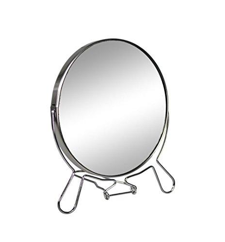 Vetrineinrete Specchio cosmetico da Trucco con Zoom Regolabile Specchio di ingrandimento Portatile per Barba rasatura Girevole da Tavolo ø 14 cm in Acciaio Cromato 66751 C7