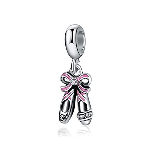HETHYAN Beads de aleación Queen Princesa Vestido de Dibujos Animados Gato Perro Cuello Encanto Encanto Pulsera Brazalete Bricolaje Mujeres joyería (Color : Ballerina Shoes)