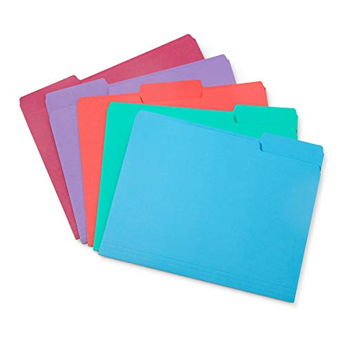 Blue Summit Supplies Gem Tone File Folders, 1/3 Cut Tab, Letter Size, Assorted Colors, Great for Organizing and Easy File Storage, 100 Per Box
