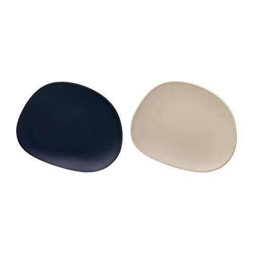 like. by Villeroy & Boch - Organic Dark Blue Sand Frühstücksteller-Set, 2 tlg., 21 cm, Hartporzellan, spülmaschinen-, mikrowellenngeeignet, Blau/Sand