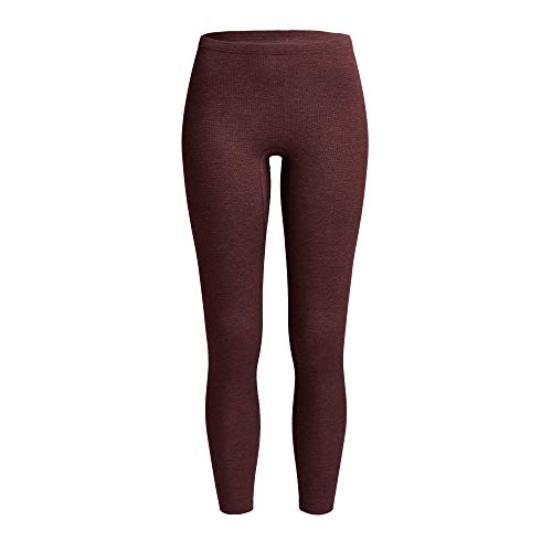 con-ta Thermo Lange Hose, Damenleggings mit natürlicher Baumwolle, wärmeisolierende Thermo-Leggings, Lange Unterwäsche, Burgund Melange, Größe: 46
