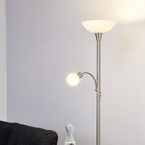 Lindby LED Stehlampe 'Elaina' (Modern) in Alu aus Metall u.a. für Wohnzimmer & Esszimmer (2 flammig, E27, A+, inkl. Leuchtmittel) - Wohnzimmerlampe, Stehleuchte, Floor Lamp, Deckenfluter