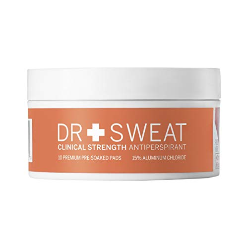 Price comparison product image Dr. Sweat Clinical Strength Antiperspirant Deodorant Pads - Reduce Sweating for 7 Days,  Deodorant for Men & Women - Pack of 10 Underarm Sweat Pads