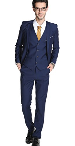 UNINUKOO Mens Slim Fit 2 Piece Suit Single Breasted Jacket Party Prom Tuxedo PantsUS Size 30 (Label Size M) Colored Blue
