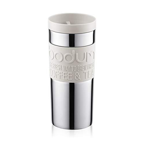 Bodum 11093–913Tazza Da Viaggio Travel Mug, 0,35l, acciaio inossidabile 8,5x 8,5x 18cm, colore: Bianco
