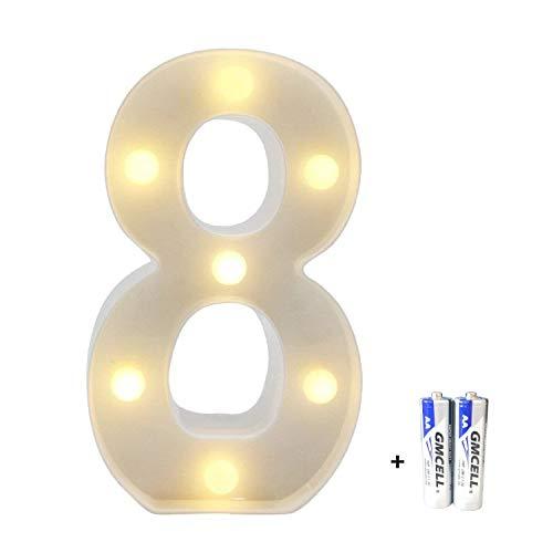 LED Buchstabe Lichter Alphabet, LED Brief Licht, Led dekoration für Geburtstag Party Hochzeit & Urlaub Haus Bar - Nummer 8