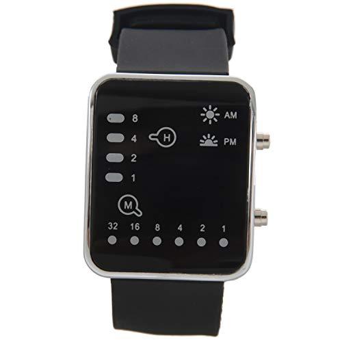 Exanko Unisex De Mujer Reloj Hombre Silicona Digital Rojo LED Deportivo Binario Pulsera Color del Articulo:Negro