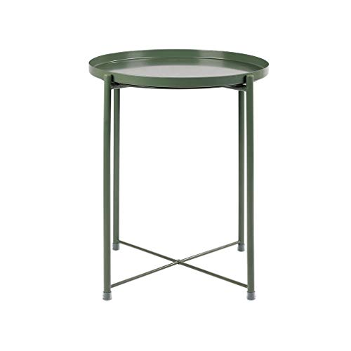 Bedside Tea Table, Wrought Iron Balcony Flower Stand, Side and Corner Coffee Table for Bedroom Bay Window 42 * 53cm (Color : Green)