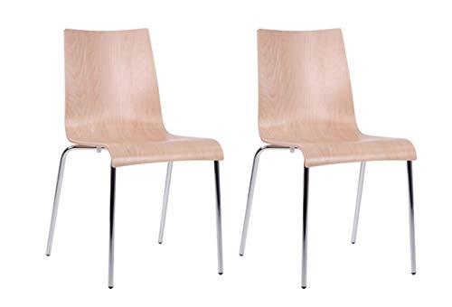 pemora 2-er Set Stapelstuhl Stuhl stapelbar Kantinenstuhl Schalenstuhl Metallstuhl Küchenstuhl Buche Natur Roman BN