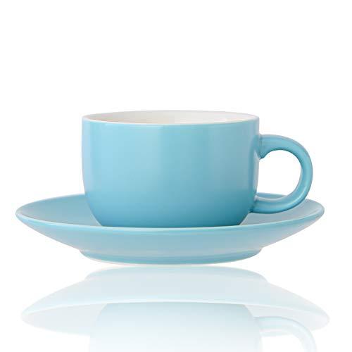 Juego de Tazas de Espresso de Cerámica (135ml) con Platillo y Portavasos, Candiicap Tazas de Cafe para Capuchino, Latte, Espresso, Americano, Té(135ml,Azul Mate)
