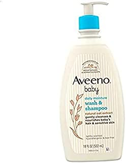 Gentle Wash & Shampoo with Natural Oat Extract, Tear-Free & Paraben-Free Formula for Hair & Body, Lightly Scented, 18 fl. ...