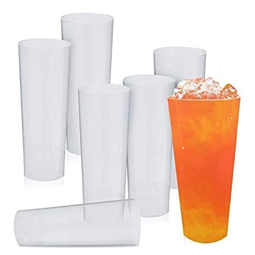 80 Vasos Altos de Plástico, Vasos de Long Drink, Vasos Desechables 300ML - Resistente y Reutilizable - Vasos Desechables para Cócteles, Fiestas, Cumpleaños, Picnic.