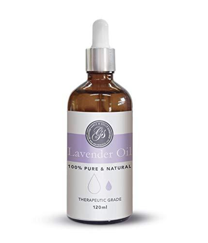 Huile essentielle de Lavande | pure et naturelle LARGE 120ml | Qualité thérapeutique | Massothérapie, aromathérapie, soins de la peau, parfum d'ambiance et bricolage (Lavande)