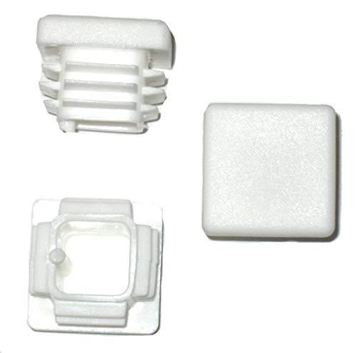 5 x Côtelé branche tube carré bouchons 20 x 20 mm fiche blanche (extérieur)