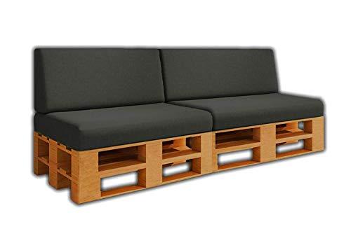 Pack Ahorro 2 Asientos + 2 Respaldo de Cojines para Sofa de palets / europalet | Desenfundable | Interior y Exterior | Color Antracita | Espuma de Alta Densidad.