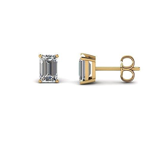 Pendientes solitarios de corte esmeralda de 3 mm-9 mm con diamante transparente D/VVS1 en plata de ley 925 chapada en oro amarillo de 14 quilates