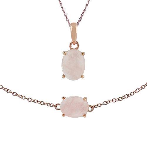 Gemondo Chapado en Oro Rosa Plata de Ley Lechoso Morganita Ovalado 45cm Collar & 19cm Juego de Brazalete