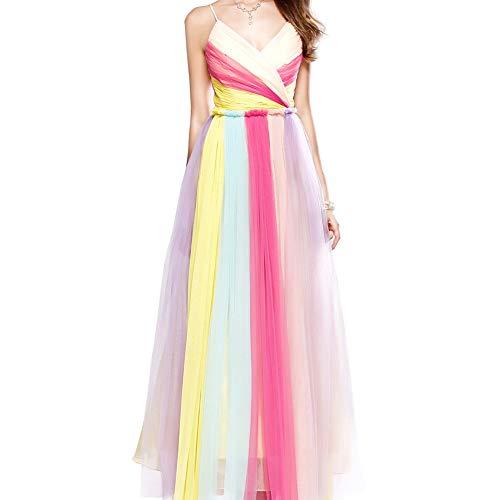 WMOFC Wedding Dresses Brautkleid V-Ansatz Langen Märchen Abendkleider Bunte Tüll Dünne Schultergurt Abendkleid-Braut-Kleid,10