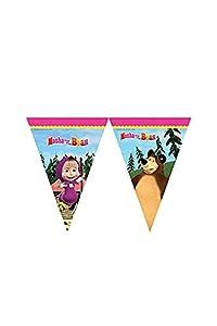 Procos 86563-Guirnalda de banderines de Masha y el Oso, 2,3m, multicolor