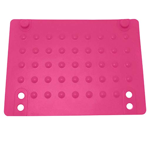 Alfombrilla de silicona resistente al calor, alfombrilla de protección contra el calor con cierre a presión y diseño de punto de onda para alisador de cabello rizador, rosa