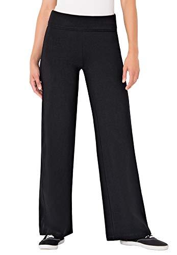 Woman Within Women's Plus Size Stretch Cotton Wide Leg Pant - 1X, Black