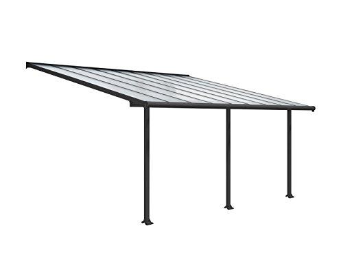 Palram Canopia Olympia Terrassenüberdachung 3X5 - Gestell aus Alumiuium & 16 mm Polycarbonat - Terrassendach Für den Ganzjährigen Gebrauch Geeignet, Grau, 546 x 295 x 305 cm, 546x295x305 cm