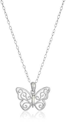 Sterling Silver Filigree Butterfly Pendant Necklace, 18