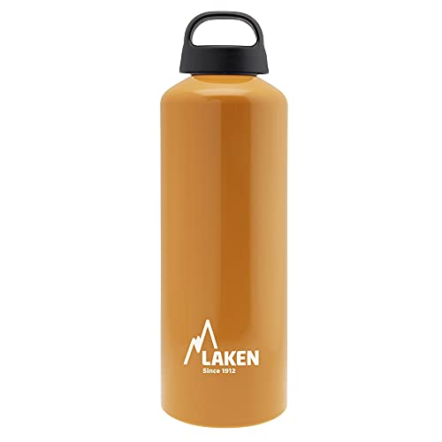 Laken Classic Botella de Agua Cantimplora de Aluminio con Tapón de Rosca y Boca Ancha, 1L Naranja